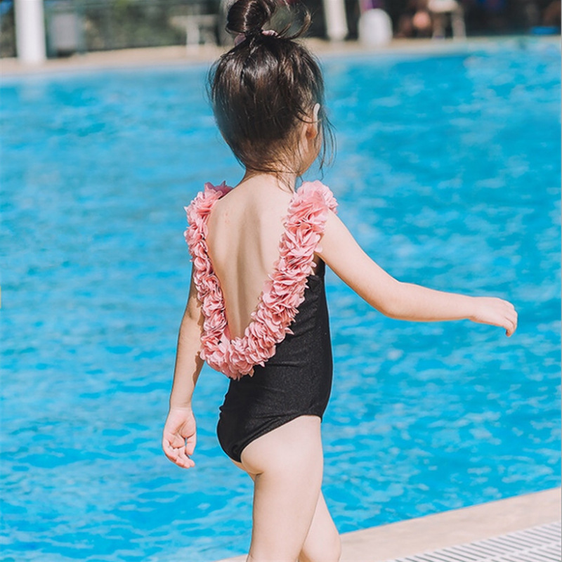 INS KID'S Swimwear GIRL'S Swimsuit Flower Petal Backless Beauty Back Mom Mother And Child Parent And Child Baby Swim Bathing Sui