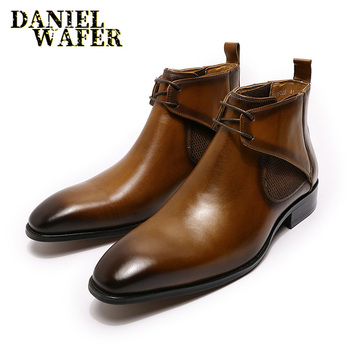 цена на LUXURY DESIGN CHUKKA BOOTS FASHION MEN'S GENUINE LEATHER ANKLE BOOTS LACE UP FORMAL MENS DRESS SHOES BLACK BROWN BASIC BOOTS MEN