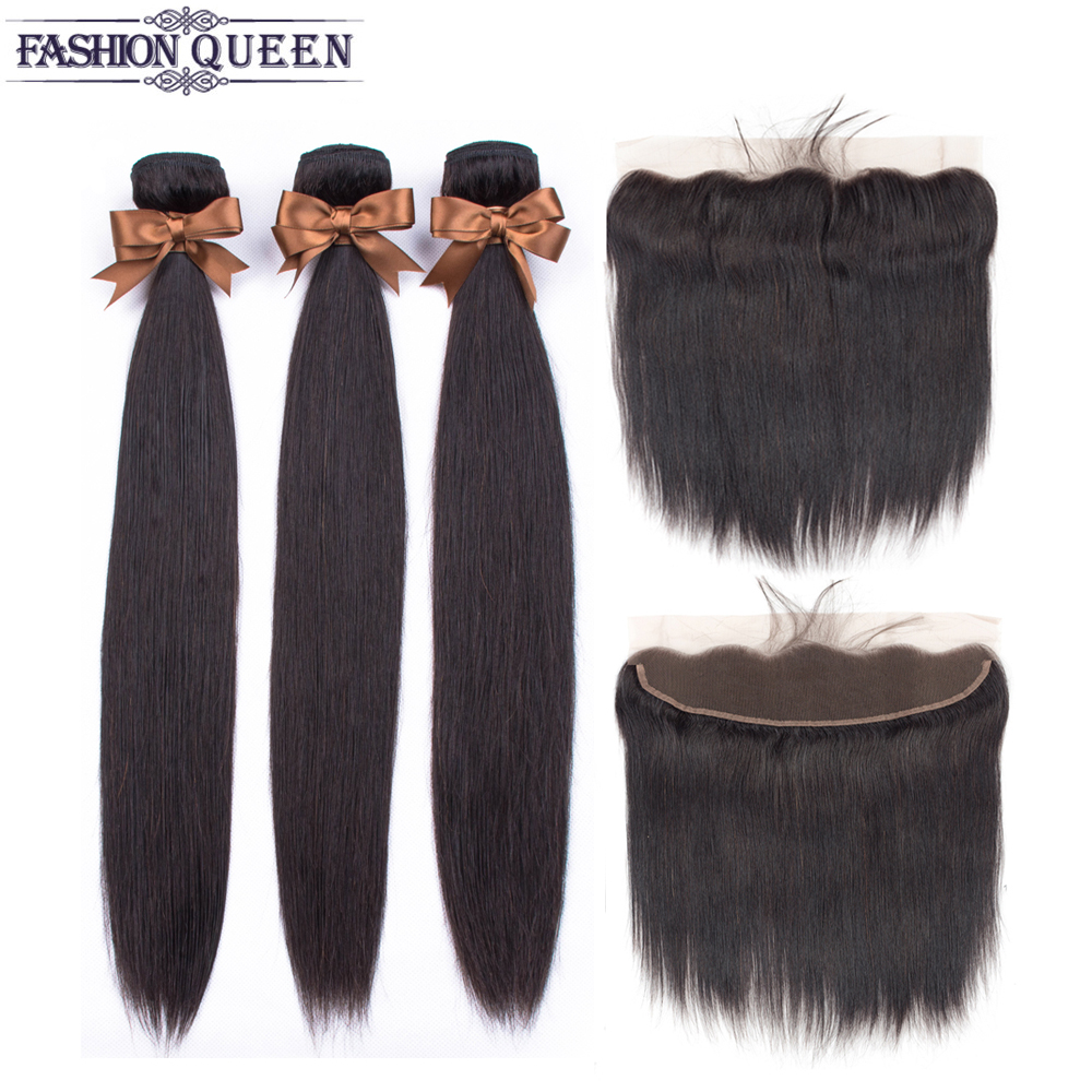 Hb237c32b53cb458caaec9e7545020dd4K 3 Bundles With Frontal Brazilian Straight Human Hair Weave Bundles With Closure Lace Frontal Non Remy Hair Fashion Queen