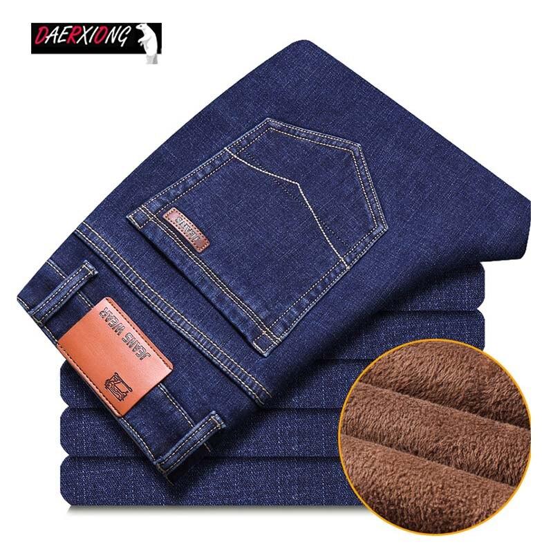 Brand Winter Men Jeans Fashion Men's Straight Stretch Business Denim Pants Male Slim Warm Fleece Velvet Classic Blue Jeans