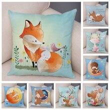 Cushion-Cover Pillow-Case Giraffe Sofa Room-Decor Animal Kids Nordic Home Fox Cute Cartoon