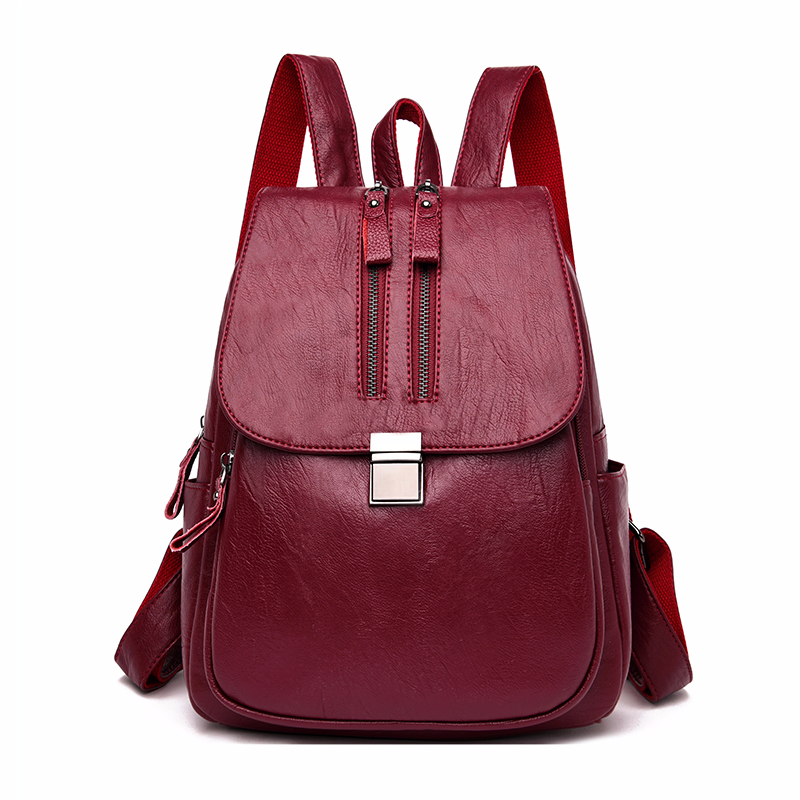 2019 Double Zipper Backpacks Women Leather Backpack Large Capacity School Bags For Girls Female Vintage Back Pack Lady Sac A Dos