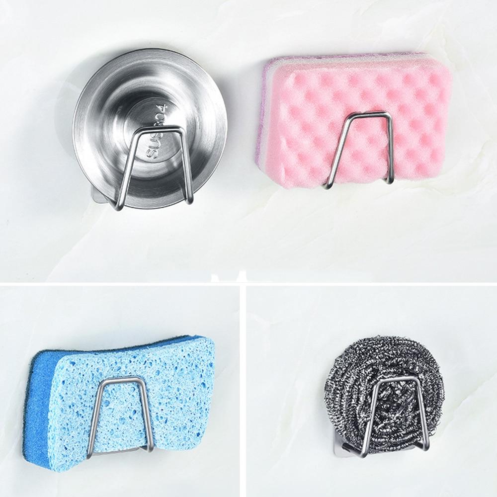 Kitchen Accessories Dishwashing Brush Sponge Holder Clip Stainless Steel Bathroom Sponges Drainer Drying Rack Sink Suction Racks
