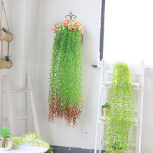 yumai 100cm Long Vivid Green Plant Rattan with Leaf Artificial Vine Longan leaf for Home Garden party Wedding Wall Hanging Decor
