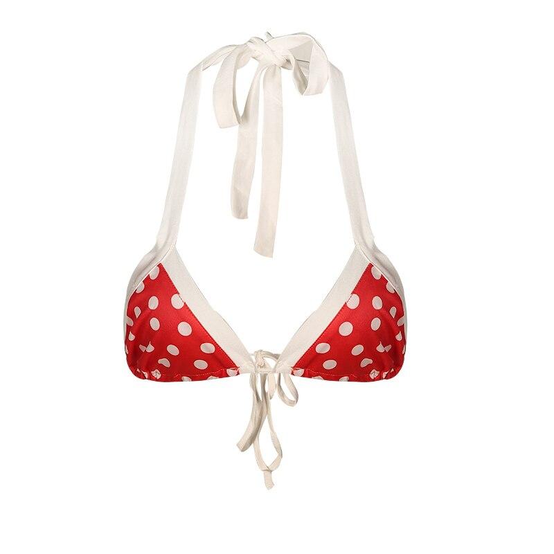 Missomo Women Bra Sweet Polka Dot Printed Bikini Sexy Halter Strap Gathered Bra in Bras from Underwear Sleepwears