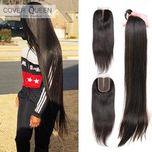 Straight 28 30 32 34 36 38 40 inch Bundles Brazilian Hair Weave Bundles With Closure 100% Human Hair Bundles With Lace Closure