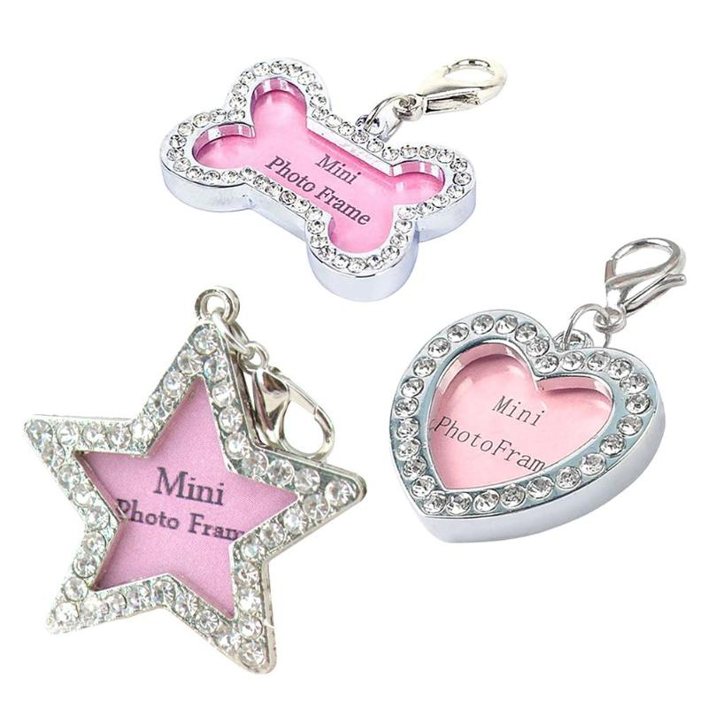 Mini Cute Pets ID Tag Name Address Pendant DIY Rhinestone Dog Puppy Anti-Lost Card Pets Collar Supplies Pet Supplies