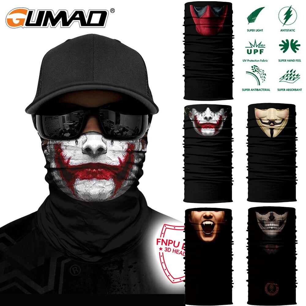 Summer Magic Half Mask Joker Printed Neck Gaiter Bandana Face Cover Cycling Fishing Hiking Camping Headband Tube Scarf Men Women
