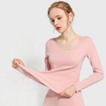2019 autumn and winter new velvet women thermal underwear set female thicken slim plus warm suit long johns self heating