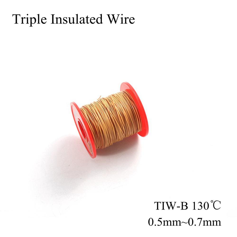 0.5mm 0.55mm 0.6mm 0.65mm 0.7mm Triple Insulated Wire Triple Insulation Bare Copper Coil Winding Wires TIW TIW-B 130℃ Tex <font><b>Cable</b></font> image