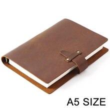 دفتر ملاحظات من الجلد الطبيعي بتصميم ريفي بجودة عالية A5 دفتر ملاحظات حلزوني مع مكبس نحاسي دفتر ملاحظات مخطط أجندة الرسم