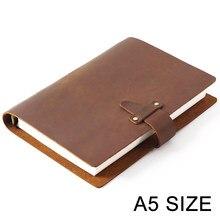 Anéis de couro genuíno rústico de alta qualidade, caderno a5, espiral, diário, diário, jornal, sketchbook, agenda, papelaria