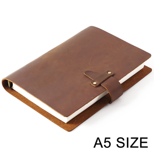 Image 1 - High Quality Rustic Genuine Leather Rings Notebook A5 Spiral Diary Brass Binder Journal Sketchbook Agenda Planner Stationery