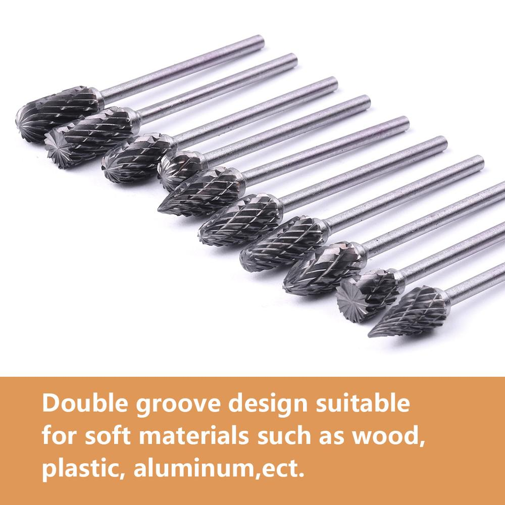 """10Pcs 2.35mm(3/32"""") 6mm Tungsten Carbide Cutter Rotary Burr Set Dremel Accessories Rotary Tools Milling Cutter Engraving Bit"""