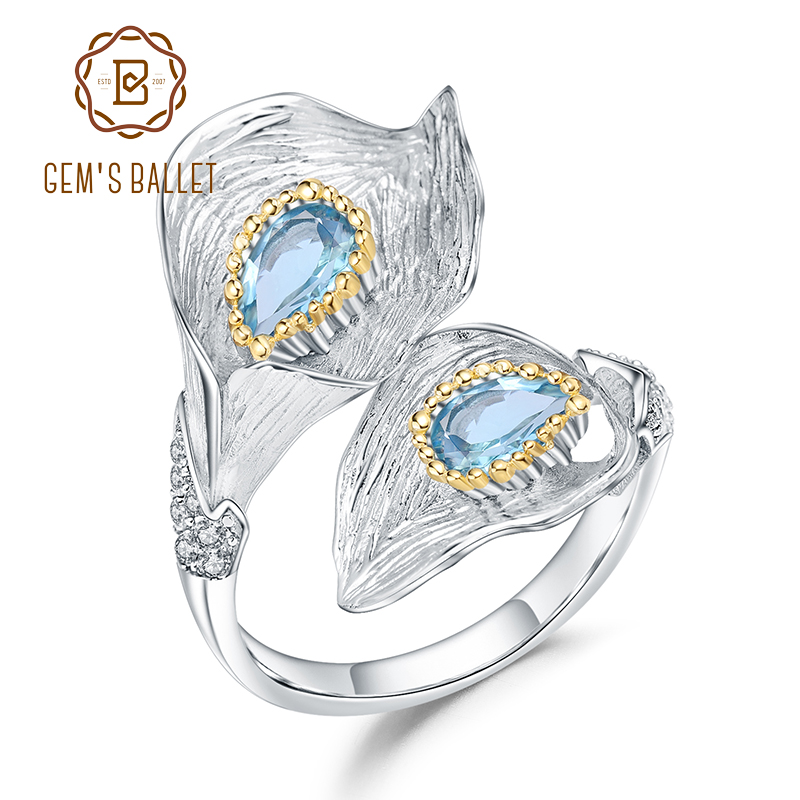 GEM'S BALLET 1.25C Natural Swiss Blue Topaz Calla Lily Leaf Rings 925 Sterling Silver Handmade Adjustable Ring For Women Bijoux