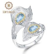 Gems BALLET 1.25C 천연 스위스 블루 토파즈 칼라 릴리 리프 링 925 스털링 실버 수제 조절 링 여성용 Bijoux