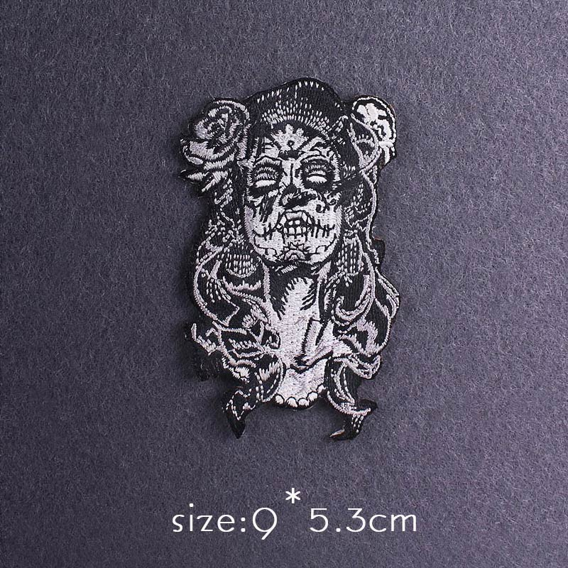 Skull Patch Zombie Bride Embroidered Patches For Clothing Iron On Patches Clothes Applique Stickers Punk Patch Sewing Supplies-2