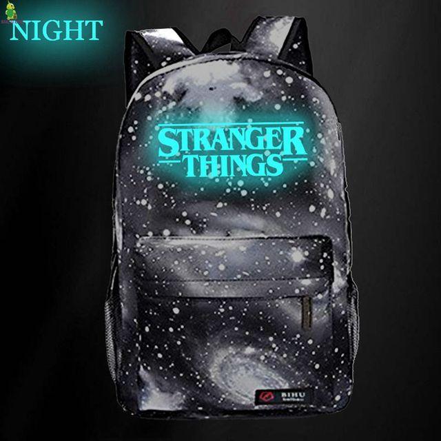 Фото рюкзак stranger things светящиеся школьные сумки для подростков