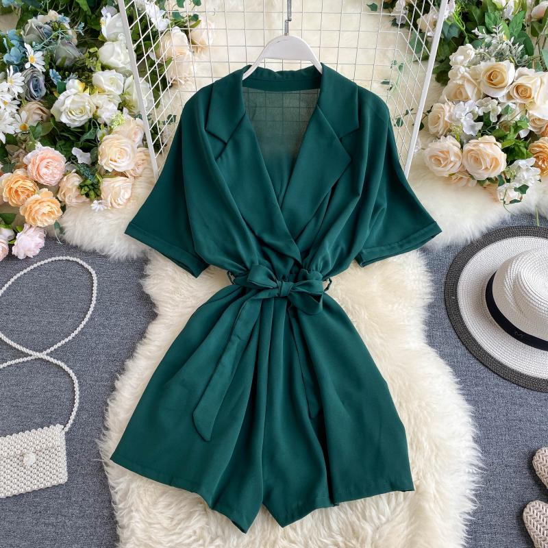 Woherb Casual V-neck Jumpsuit Women Loose Wide Leg Palysuit 2020 Summer Rompers Womens Jumpsuits with Belt Fashion Nova Woman 2