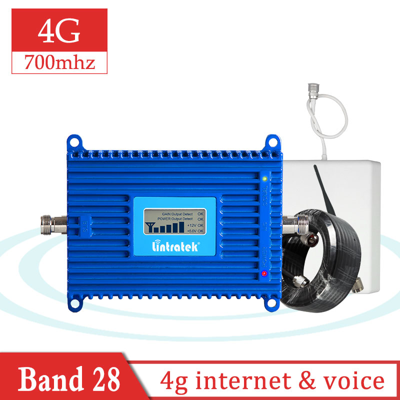 Lintratek B28 700 Mhz Cellular Signal Booster Repeater 4g LTE UMTS Amplifier Internet And Voice Call Antenna +10m Full Set S7