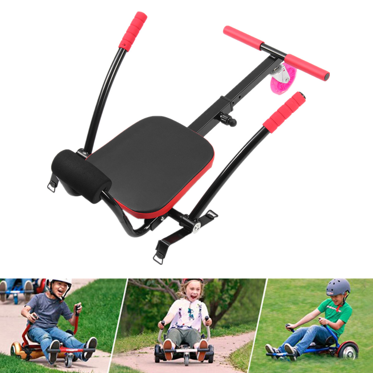 Kids Toy  Adjustable Kart Seat Holder Kit For 6.5'' 8''10'' Two Wheel Balance Scooter Electric Scoot Racing Balance Car Upgraded