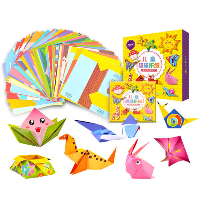 Cartoon Origami Paper Colorful Book Children Toy Animal Pattern 3D Puzzle Handmade DIY Craft Papers Educational Toys 108 PCS 1