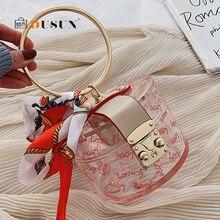 Fashion Clear Mini Women Handbag Metal Handle Case Shape Clutch Bag Scraf Ladies