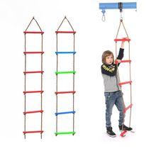 Wooden Rungs PE Rope Ladder Children Climbing Toy Kids Sport Rope Swing Indoor Outdoor Garden Safe Fitness Equipment