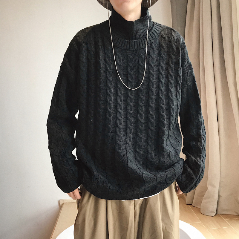 UYUK Autumn And Winter Half High Collar Korean Version Of The Trend Of Youth Quality Knitted Pattern Homme Sweaters