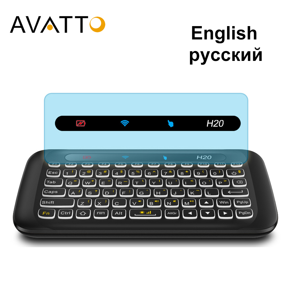 AVATTO Russian,English H20 Full Touchpad Backlit Mini Keyboard With 2.4G Wireless IR Remote Control For Smart TV Android Box PC