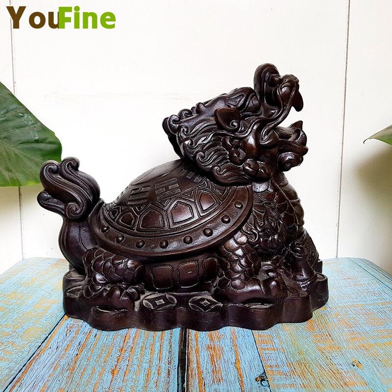 Pur cuivre bronze dragon tortue bijoux potins argent tortue salon maison Feng Shui ornement Feng Shui chanceux sculpture