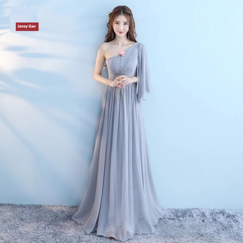 JaneyGao Bridesmaid Dresses For Wedding Party long Chiffon Stylish Sisters Formal Gown Grey A Line Elegant 2019 New Arrival