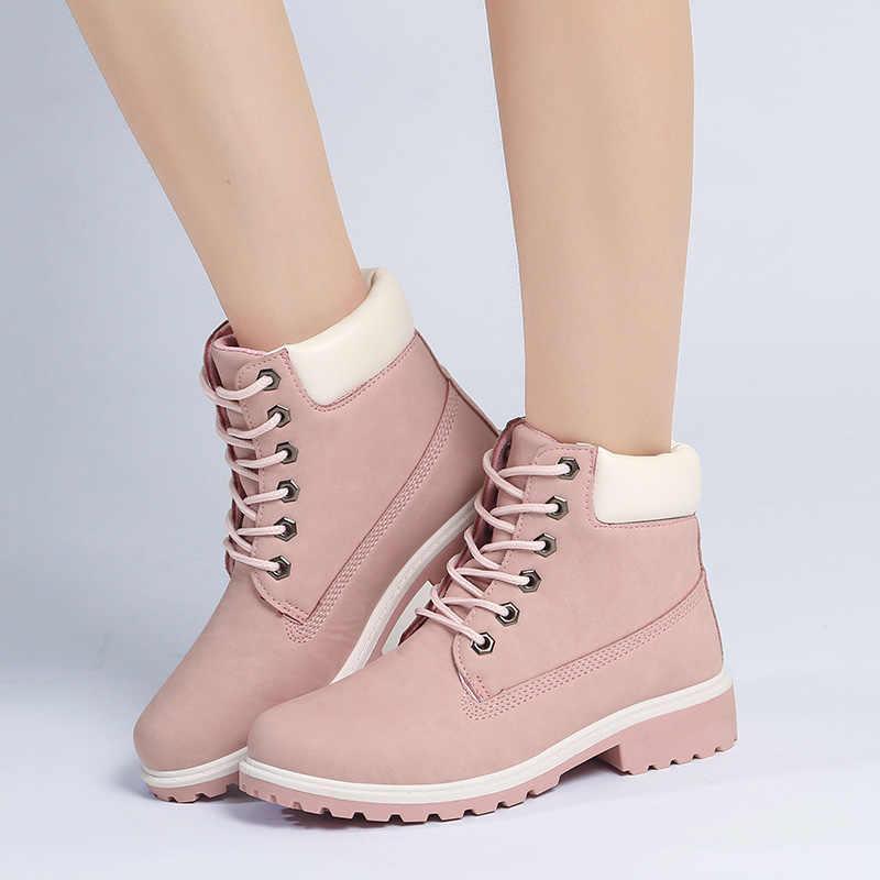Moda Motosiklet Çizmeler Kadın yarım çizmeler Martin Çizmeler Kadın Kış Sonbahar Ayakkabı Kadınlar Sıcak Kürk Kışlık Botlar Botas Mujer