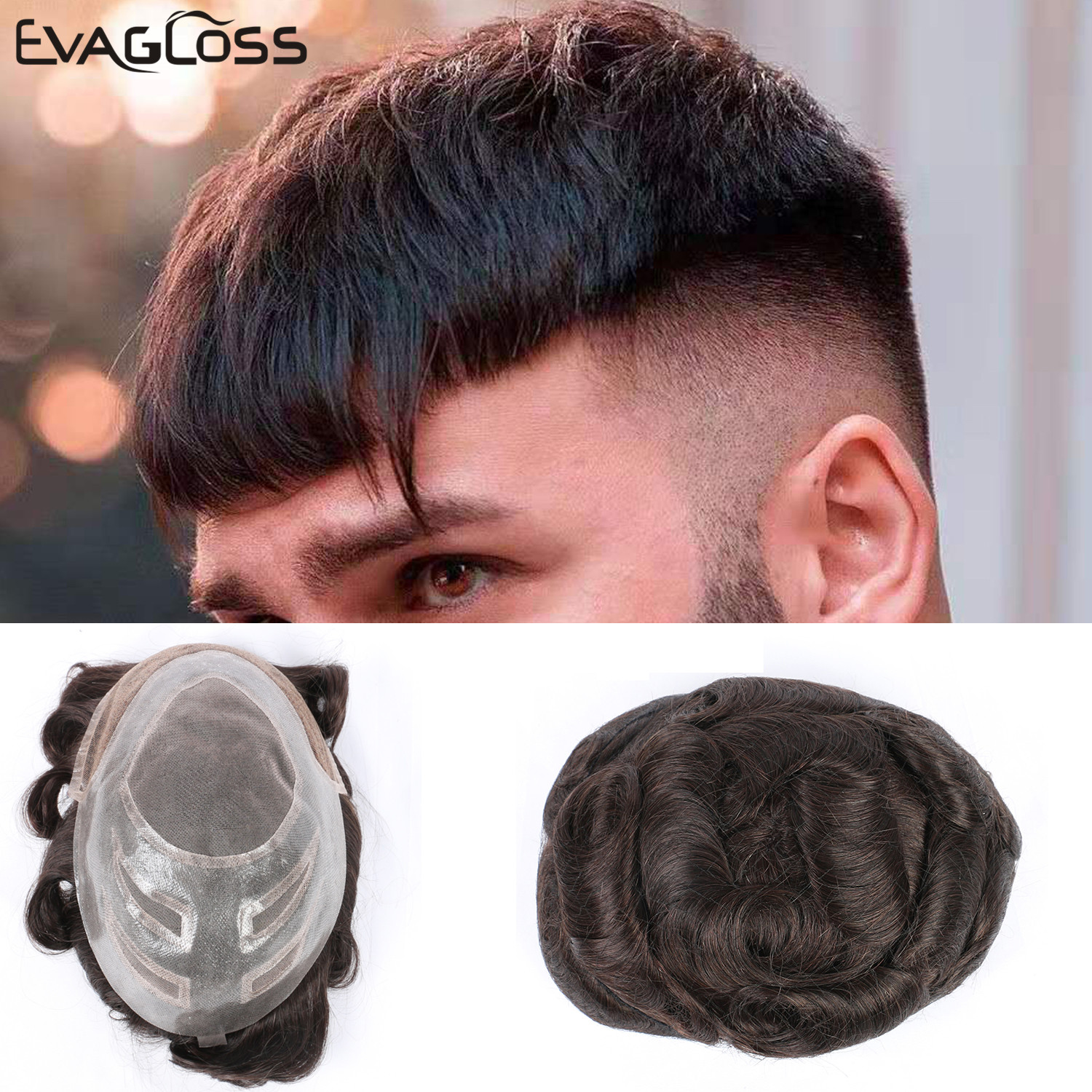 EVAGLOSS Swiss Lace Mono Mens Wig Hair Toupee VERSALITE Style Natural Hairline Indian Human Hair Memss Toupee Free Shipping