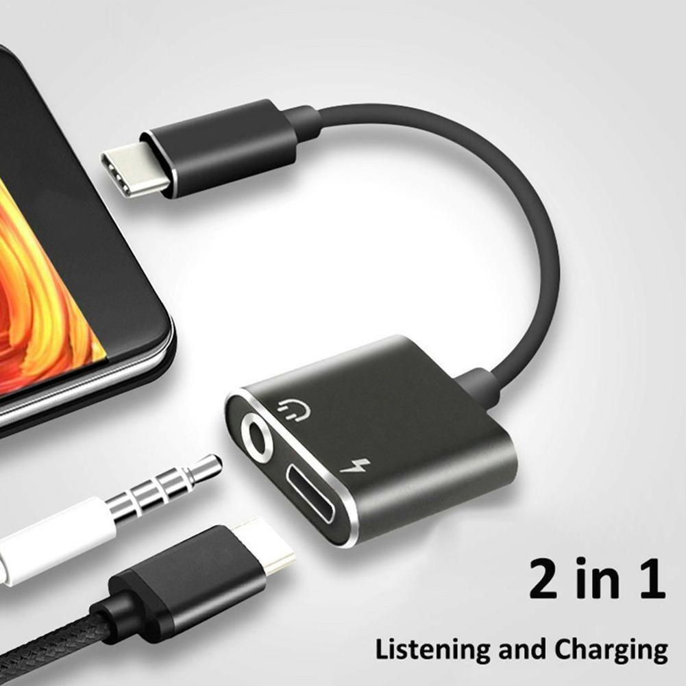 2 In1 Type-C To 3.5mm Headphone Jack Adaptor And Connector Adaptor & Earphone Audio Aux Charge Charger D4I2
