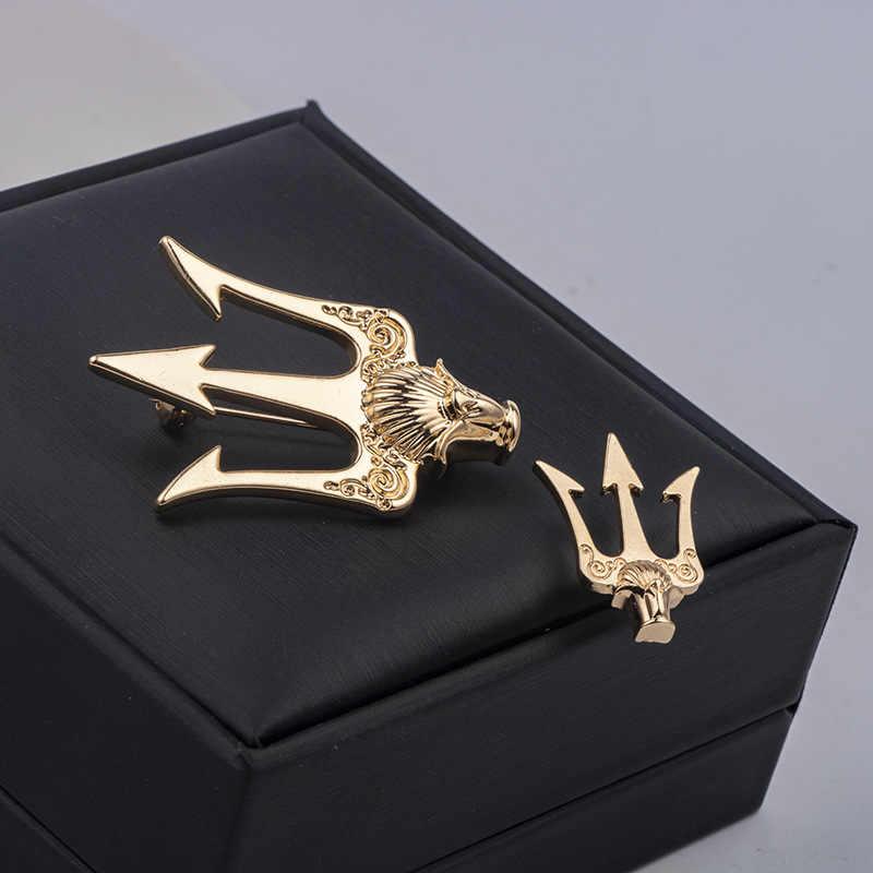 High-End Vintage Trident Bros Kerah Pin Pria Perapi Kemeja Mantel Kerah Bros Perhiasan Mewah Aksesoris Hadiah untuk Wanita