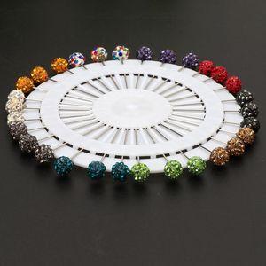 Image 3 - 30 adet Müslüman Başörtüsü Eşarp Emniyet Pimleri Kristaller Topu Broş Düz Kafa Pimleri