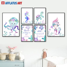 Watercolor Octopus Seahorse Turtle Mermaid Nordic Posters And Prints Wall Art Canvas Painting Pictures Baby Kids Room Decor