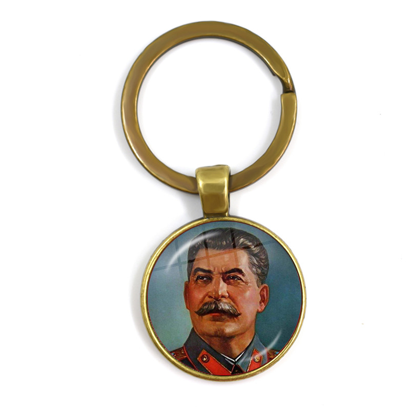 Soviet USSR Stalin Lenin Keyrings Classic Red Star Hammer Sickle Communism Emblem CCCP Glass Cabochon Keychains For Friends Gift