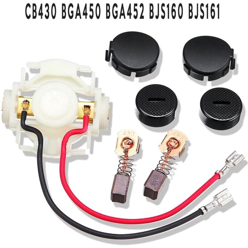 Carbon Brush+Caps+Cap Covers+Brush Holder Set For Makita 638921-2 638448-2 CB430 BGA450 BGA452 BJS160 BJS161 DGA452REF GA400 NEW