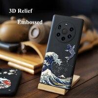 Funda trasera con anillo de dedo para Huawei Mate 40 Pro Plus Mate40 40Pro 40, carcasa con relieve 3D, silicona suave Mate, protección completa para cámara