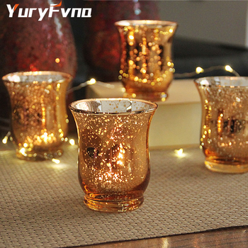 YuryFvna Crystal Glass Candle Holder Aroma Mercury Glass Tea Candle Holder Wedding Party Hotel Cafe Bar Home Decoration