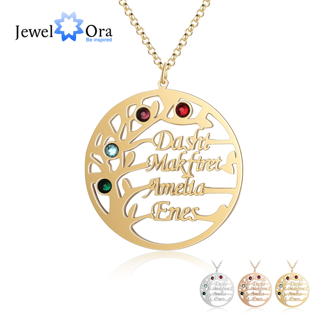 Customized Family Tree Necklace with 4 Birthstones