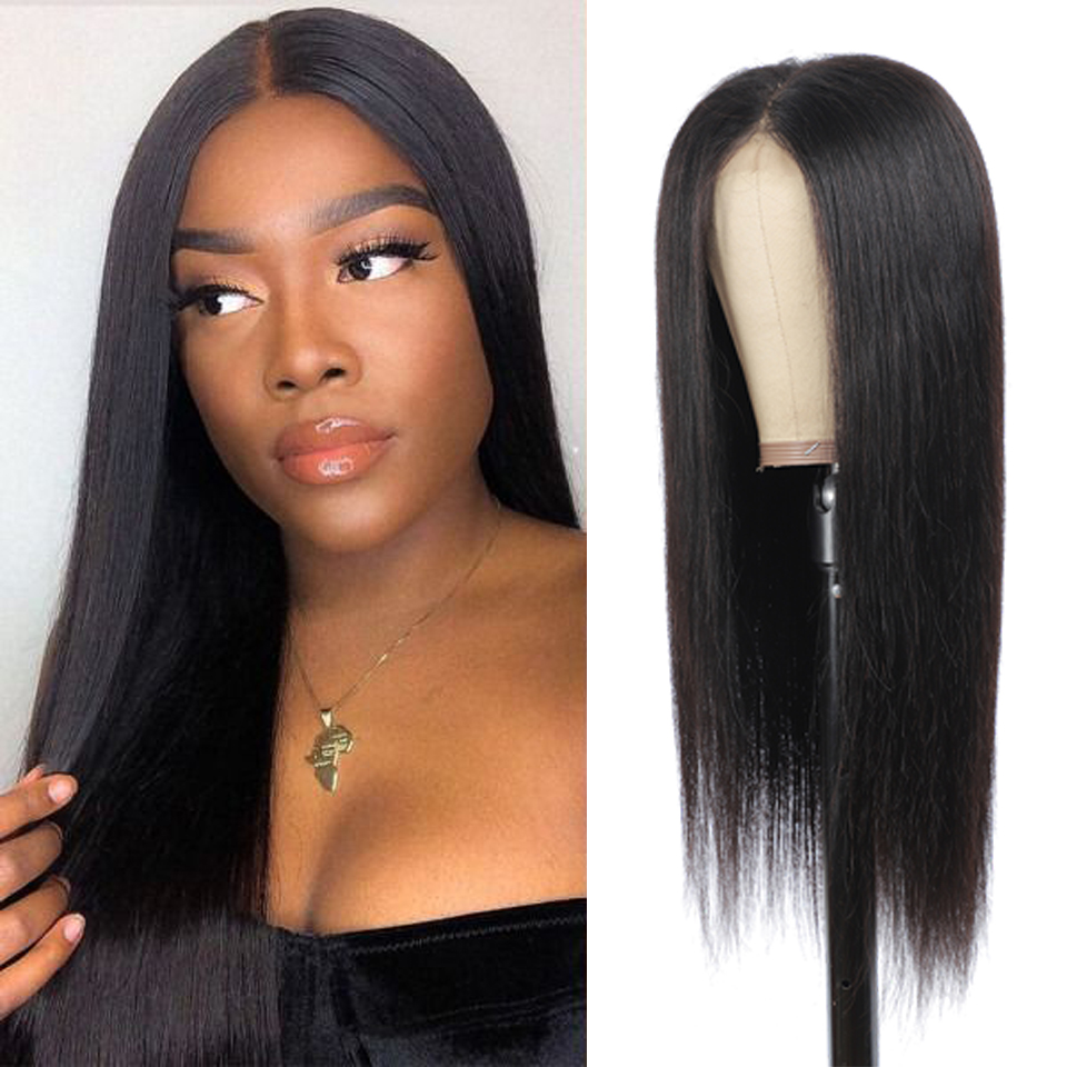 180 Density Lace Closure Wig Straight Lace Front  Wigs 8-30 Inches Long  Wig Frontal Wig 4x4 Pre Plucked 2