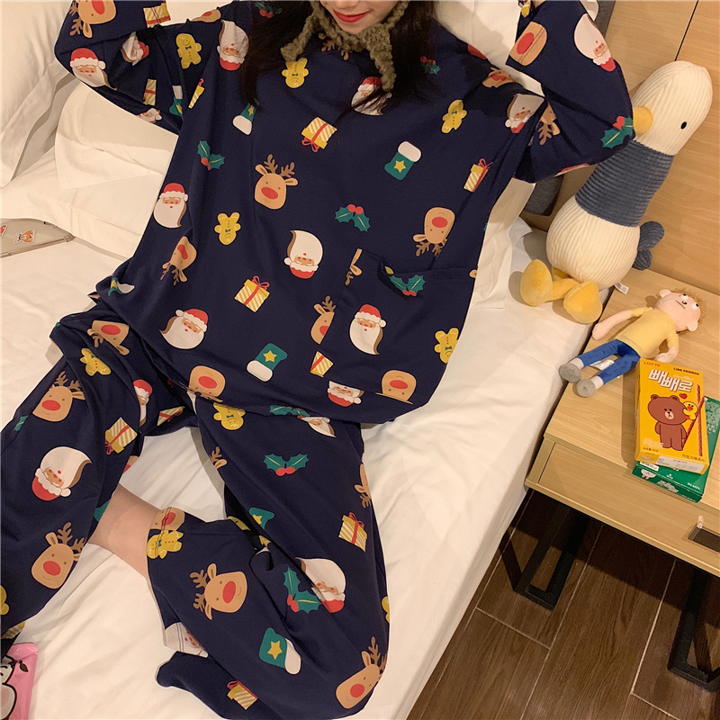 Caiyier 2019 Autumn Winter Pajamas Set Cute Christmas Print Long Sleeve Sleepwear Thin Soft Leisure Girl Nightgown Home Clothing