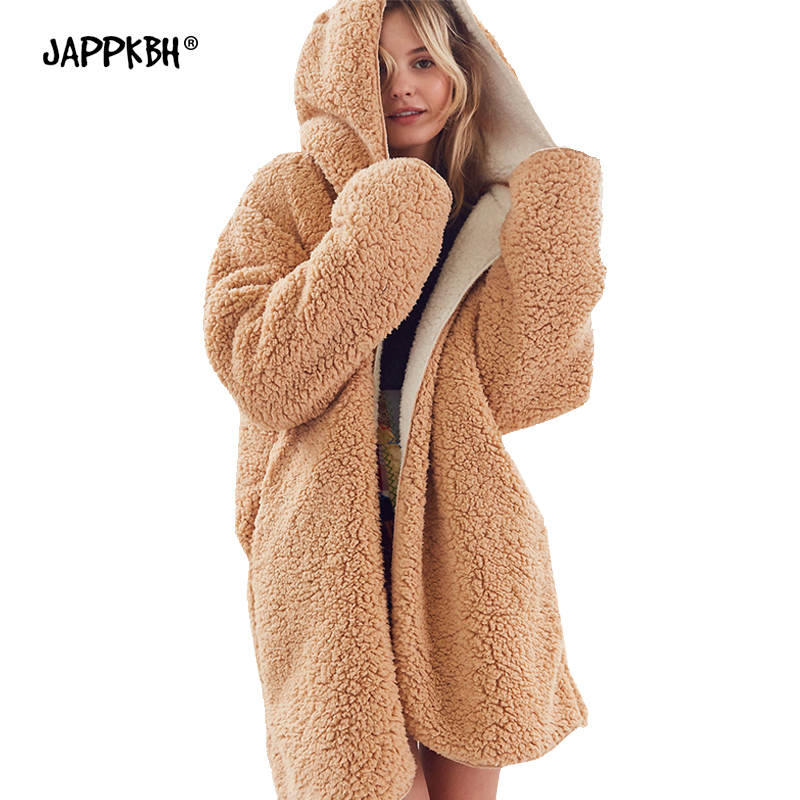 Autumn Winter Faux Fur Coat Women 2019 Casual Loose Solid Long Thick Teddy Coat Female Hooded  Warm Fur Jackets Black Outwear