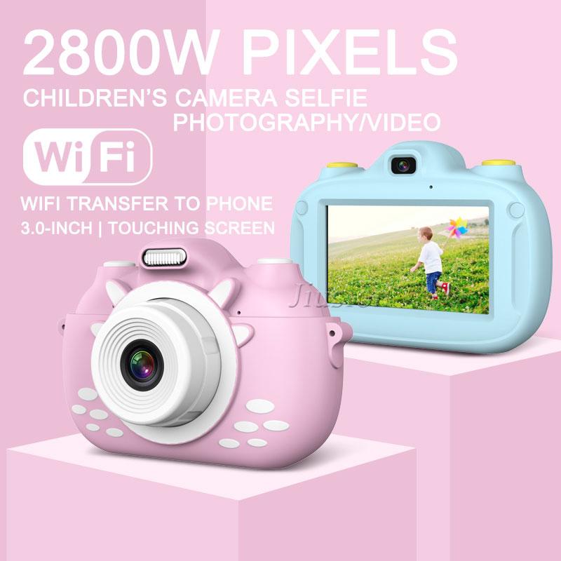 Kids Camera 3.0'' Touch Screen Dual Lens WiFi Transfer HD 1080P Digital Video Photo Mini Vlogging Camara Toys Children Best Gift