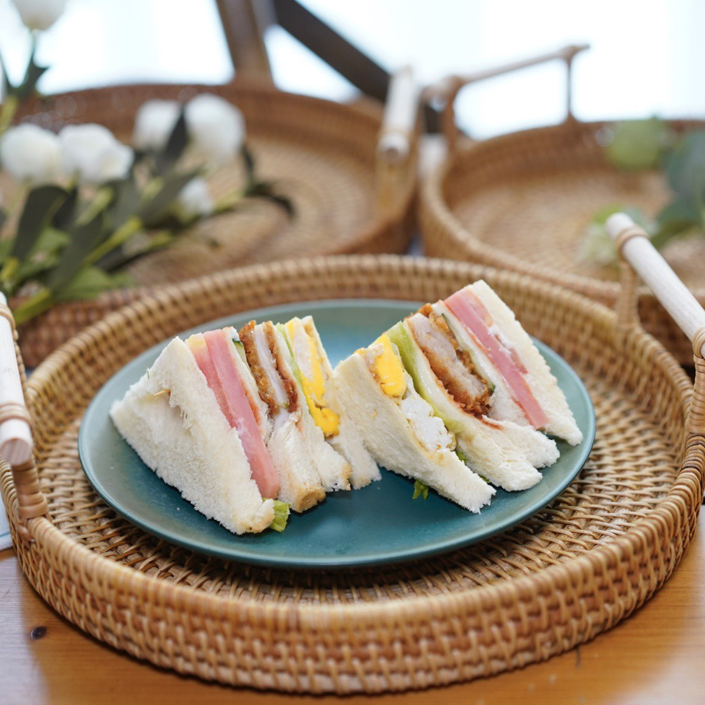 Rattan Woven Round Tray Double-ear Woven Bread Fruit Food Storage Plate for Kitchen Round Breakfast Drink Snack