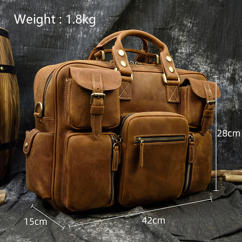 """Hb23a8cd679a040f4a4c5a5ac526310b91 MAHEU Men Briefcase Genuine Leather Laptop Bag 15.6"""" PC Doctor Lawyer Computer Bag Cowhide Male Briefcase Cow Leather Men Bag"""