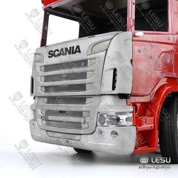 LKW Frontstoßstange | 1/14 Lkw Scania R730 Front Gesicht Net Bumper Set Tamiya Traktor R620 R470 Aluminium Legierung Metall Upgrade Zubehör RCLESU